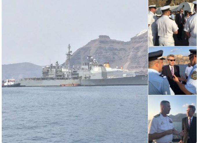 Αμερικανός Πρέσβης: Ο Τζέφρι Πάϊατ καλωσόρισε το USS Normandy στη Σαντορίνη