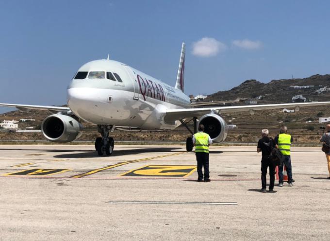 Η πρώτη πτήση της Qatar Airways στη Μύκονο