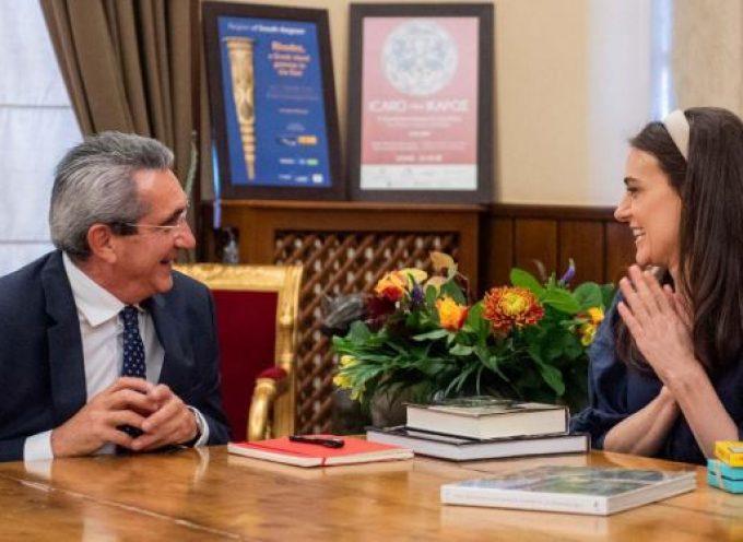 Με την Αριάνα Ροκφέλερ συναντήθηκε ο Περιφερειάρχης Νοτίου Αιγαίου και ο Δήμαρχος Ρόδου