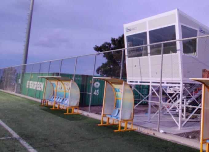 """ΔΑΠΠΟΣ: """"Υπερσύγχρονο το πρώτο δημοσιογραφικό θεωρείο που τοποθετήθηκε στο γήπεδο των Φηρών"""""""